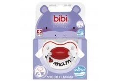 Bibi Happiness I Love Mama & Papa Soother Ορθοδοντική Πιπίλα Σιλικόνης 6-16m, 1 τεμάχιο - I Love Mama