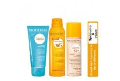 Bioderma Package for Summer Face & Body Care with Photoderm Max Brume Invisible Sun Mist SPF50, 150ml & Photoderm After Sun Milk, 200ml & Photoderm Nude Touch SPF 50+ Natural Tint, 40ml