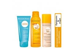 Bioderma Package for Summer Face & Body Care with Photoderm Max Brume Invisible Sun Mist SPF50, 150ml & Photoderm After Sun Milk, 200ml & Photoderm Nude Touch SPF 50+ Golden Tint, 40ml