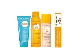 Bioderma Summer Package for Face & Body with Photoderm Brume Solaire SPF 30, 150ml & Photoderm After Sun Milk, 200ml & Photoderm Nude Touch SPF 50+ Golden Tint, 40ml