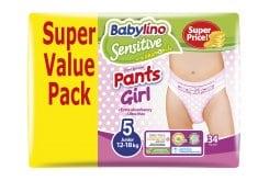 Babylino Pants Girl Junior Νο.5 (12-18 kg) Value Pack Απορροφητικές & Πιστοποιημένα Φιλικές Παιδικές Πάνες Βρακάκι, 34τεμάχια
