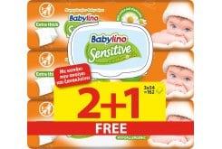 3 x Babylino Sensitive with Camomile (2+1 ΔΩΡΟ) Μωρομάντηλα με Χαμομήλι (3 x 54), 162τεμάχια