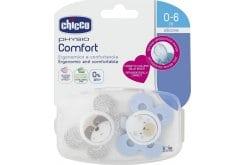 Chicco Physio Comfort Silicone 0-6m (74931-21) Πιπίλα Σιλικόνης σε Εργονομικό Σχήμα, Χρώμα Μπλε/Γκρι, 2 τεμάχια