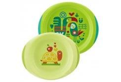 Chicco Baby's Dish Set με Πιάτο &  Μπώλ 12m+, 2 τεμάχια - Λαχανί