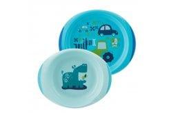 Chicco Baby's Dish Set Πιάτο και Μπωλ Μπλέ  12m+, 2τμχ