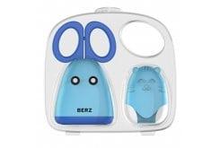 Berz Ανοξείδωτο Ψαλιδάκι προετοιμασίας τροφών & προστατευτικό γαντάκι ζωάκι σιλικόνης, 1 τεμάχιο - Μπλε