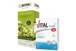 Πακέτο Προσφοράς για Αντιμετώπιση Κρυολογήματος με F ECTIVE Herbal Syrup Adults Φυτικό Σιρόπι για το Βήχα & τον Ερεθισμένο Λαιμό, 150ml & Vital Cold Συμπλήρωμα Διατροφής για την Ενίσχυση του Ανοσοποιητικού, 20caps