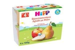 Hipp Υποαλλεργική Φρουτόκρεμα με Μήλο - Αχλάδι Βιολογικής Καλλιέργειας, 4 x 100gr