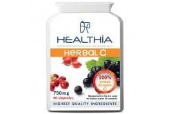 Healthia Herbal C 750mg Συμπλήρωμα Διατροφής με 100% Φυσική Βιταμίνη C για Ενέργεια & Τόνωση του Ανοσοποιητικού Συστήματος, 60caps