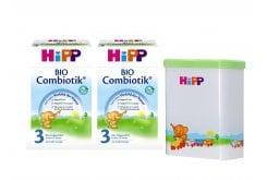 2 x Hipp Bio Combiotic 3 Βιολογικό Γάλα για Νήπια από τον 12ο μήνα, 2 x 600 gr & ΔΩΡΟ Δοχείο Φύλαξης