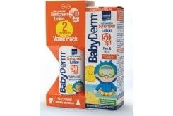 Intermed PROMO Babyderm Sunscreen Lotion SPF50 Face & Body Παιδικό Αντηλιακό Γαλάκτωμα για Πρόσωπο & Σώμα για Βρέφη 6m+, 2 x 200ml