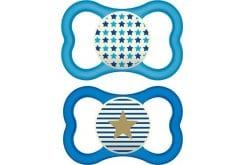 Mam Air Night (277S) Πιπίλα Νύχτας με Θηλή από Σιλικόνη 16m+, 2 τεμάχια - Μπλε