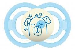 Mam Perfect Night 285S Πιπίλα Νύχτας 16+ μηνών με Θηλή-Μετάξι Σιλικόνης, 1 τεμάχιο - Γαλάζιο