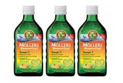 3 x Moller's Μουρουνέλαιο Tutti Frutti Παραδοσιακό Μουρουνέλαιο σε Υγρή Μορφή με Γεύση Φρούτων, 3 x 250ml