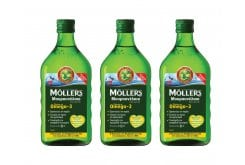 3 x Moller's Cod Liver Oil Lemon in liquid form with Lemon flavor, 3 x 250ml