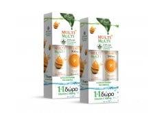 2 x Power Health (1+1 ΔΩΡΟ) με Multi + Multi με Στέβια Αναβράζουσα Πολυβιταμίνη με Γεύση Ροδάκινο, 2 x 20 eff. tabs & μαζί Vitamin C 500mg Αναβράζουσα Βιταμίνη C με Γεύση Πορτοκάλι, 2 x 20 eff. tabs
