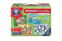 Orchard Toys Animals Four in a Box Jigsaw Παζλ για 3 Ετών+, 1 τμχ