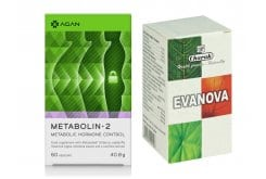 Promo Pack with Agan Metabolin-2 Stabilizes Body Weight & Balances Metabolic Hormones, 60vcaps & TOGETHER Charak Evanova Dietary Supplement to Treat Menopause Symptoms, 100 tabs