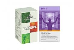 Promo Pack with Charak Evanova Dietary Supplement to Treat Menopause Symptoms, 100 tabs & TOGETHER Agan Eusensia No Depress Supplement Against Sadness & Negative Feelings, 30 veg.caps