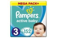Pampers Active Baby Mega Pack No.3 (6-10kg) Βρεφικές Πάνες, 152τεμάχια