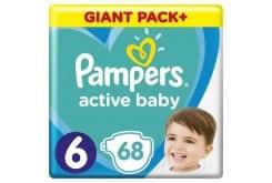Pampers Active Baby Πάνες Giant Pack Μέγεθος 6 (13-18 kg), 68 Πάνες