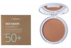 Korres Red Grape Compact Foundation SPF50+ Light Αντηλιακό Make Up σε μορφή compact με κόκκινο σταφύλι κατά της πρόωρης γήρανσης, Απόχρωση 1 Ανοιχτή, 8gr