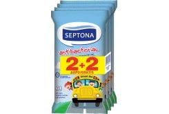 Septona Antibacterial Kids On The Go, Αντιβακτηριδιακά Μαντήλια Χεριών, 2x15 τεμάχια + (2x15 ΔΩΡΟ)