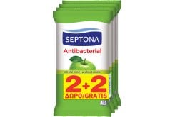 Septona Antibacterial Wet Wipes with Green Apple, 2x20 pc + (2x20 GIFT)