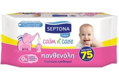Septona Calm n' Care Baby Wipes with Panthenol, 75 pc
