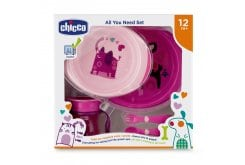 Chicco Chicco All You Need Set Σετ Φαγητού για 12m+ σε Ροζ χρώμα, 5τμχ