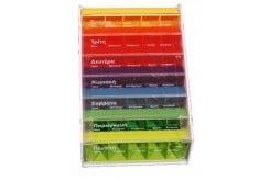 Anabox, εβδομαδιαία θήκη, περιέχει 7 αποσπώμενες ημερήσιες θήκες διαφορετικού χρώματος, 5 θέσεων για λήψη χαπιών κάθε πρώι - μεσημέρι - απόγευμα - βράδυ