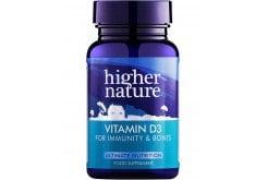 Higher Nature Vitamin D 500iu Δυνατά Υγιή Οστά & Δόντια & Ενίσχυση Ανοσοποιητικού, 60 κάψουλες