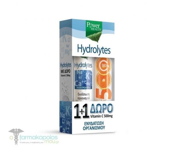 Power Health 1+1 ΔΩΡΟ με Hydrolytes Συνδυασμός Ηλεκτρολυτών, 20 eff.tabs & μαζί Vitamin C 500mg Αναβράζουσα Βιταμίνη C με Γεύση Πορτοκάλι, 20 eff. tabs
