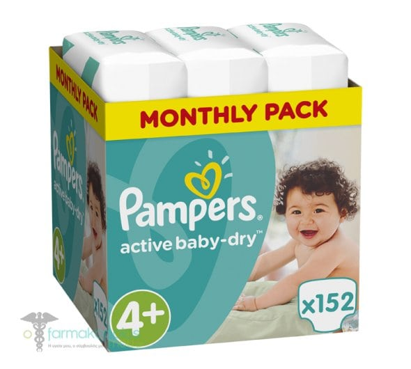 Pampers Active Baby Dry Monthly Pack No.4+ Maxi+ (9-16 kg) Βρεφικές Πάνες, 152 τεμάχια