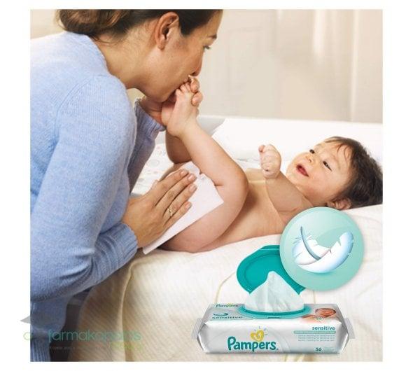 Pampers Sensitive Wipes Μωρομάντηλα για την Αλλαγή Πάνας, 2+2 ΔΩΡΟ, 4 x 56 τεμάχια