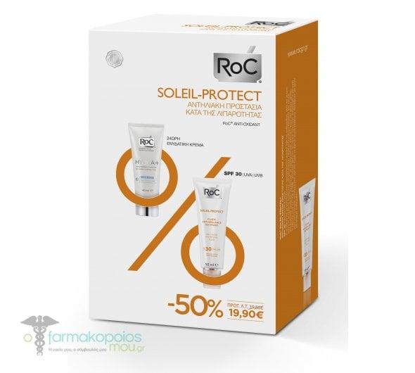 """Εικόνα του """"Roc Promo Pack με Soleil Protect Anti-shine Mattifying Fluid SPF30 Αντιηλιακή Κρέμα Προσώπου κατά της λιπαρότητας, 50ml & Hydra+ Legere 24ωρη Ενυδατική Κρέμα Προσώπου για κανονικές & μικτές επιδερμίδες, 40ml"""""""