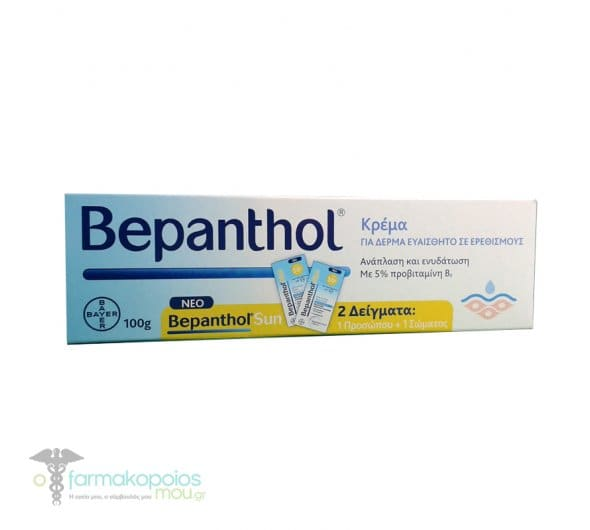 Bepanthol Cream For Skin Prone to Irritations, 100g & 2 Sachets for Face & Body