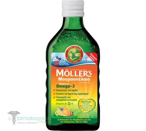 Moller's Μουρουνέλαιο Tutti Frutti Παραδοσιακό Μουρουνέλαιο σε Υγρή Μορφή με Γεύση Φρούτων