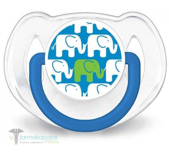Philips Avent SCD627/01 Elephant Σετ Δώρου με Μπλε Ελεφαντάκια, περιλαμβάνει Πλαστικό Μπιμπερό Natural, 260ml , 2 x Πιπίλες Σιλικόνης με Κρίκο 6-18m & 1 Κλιπ Πιπίλας