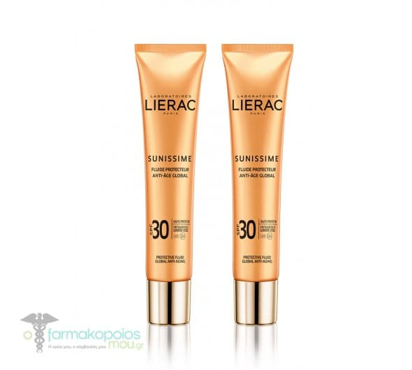 2 x Lierac Sunissime Fluide Protect Energisant Anti-Age Global SPF30 Λεπτόρρευστη Αντηλιακή Κρέμα Προσώπου ολικής αντιγήρανσης, 2 x 40ml