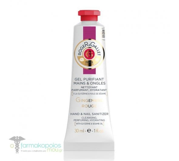 Roger & Gallet Gingembre Rouge Hand & Nail Sanitizer Ενυδατικό Aντισηπτικό Τζελ Καθαρισμού Χεριών & Νυχιών, 30ml