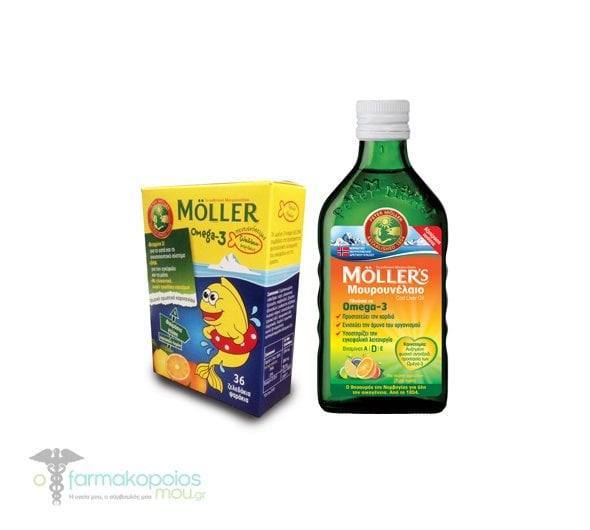 Moller's Cod Liver Oil in Tutti Frutti in liquid form with Fruit flavor, 250ml & TOGETHER WITH Moller's Gummies withOmega 3 for Kids, with Orange-Lemon Flavor, 36 gummies