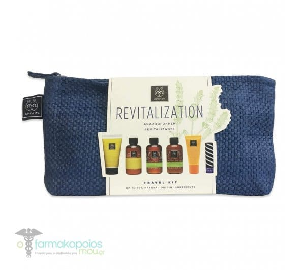 Apivita Revitalization Travel Kit με Gentle Daily Shampoo, 75ml, Gentle Daily Conditioner, 50ml, Tonic Mountain Tea Αφρόλουτρο, 75ml, Tonic Mountain Tea Γαλάκτωμα, 75ml, Lip care with Cocoa Butter SPF20, 4.4gr & Suncare Anti-Wrinkle SPF30, 15ml