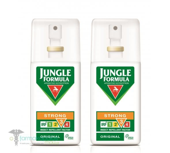 Jungle Formula Strong Original (1+1 ΔΩΡΟ) Αντικουνουπικό spray με 20% περιεκτικότητα Deet & φυτικά εκχυλίσματα, 2 x 75ml