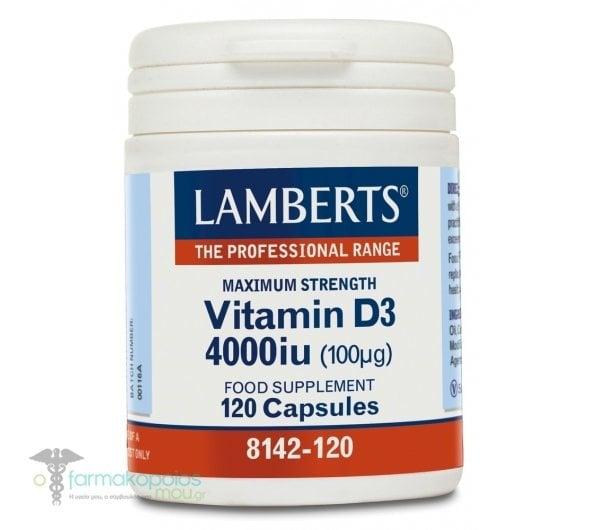 Lamberts Vitamin D3 4000iu (100μg), 120caps