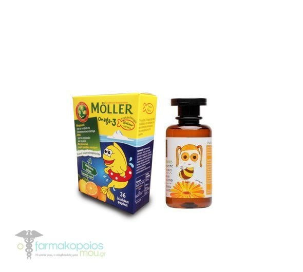 Moller's Jellies Omega-3 for Children, with Orange-Lemon Flavor , 36 gummies &  Apivita Eco-Baby & Kids Hair & Body Wash, 200ml
