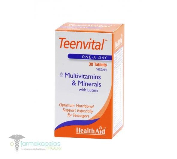 Health Aid Teenvital (Ages 12-16) Συμπλήρωμα για Εφήβους που χρειάζονται μια πρόσθετη στήριξη σε περιόδους με Αυξημένο Στρες, 30tabs