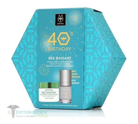 Apivita PROMO 40's Birthday  Bee Radiant Light Cream Αντιγηραντική Κρέμα Προσώπου Ελαφριάς Υφής, 50ml & ΔΩΡΟ 5 Action Eye Serum Καινοτόμος Ορός Ματιών Εντατικής Ενυδάτωσης & Αντιγήρανσης με Λευκό Κρίνο, 15ml