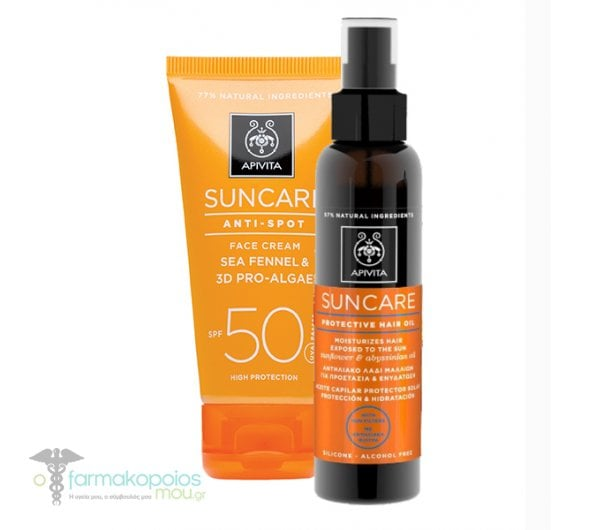 Apivita Suncare Anti Spot SPF50 Αντιηλιακή Κρέμα Προσώπου κατά των πανάδων με Κρίταμο & 3D Pro - Algae, 50ml & ΜΑΖΙ Apivita Suncare Protective Hair Oil Αντιηλιακό Λάδι Μαλλιών για προστασία & ενυδάτωση, 150ml