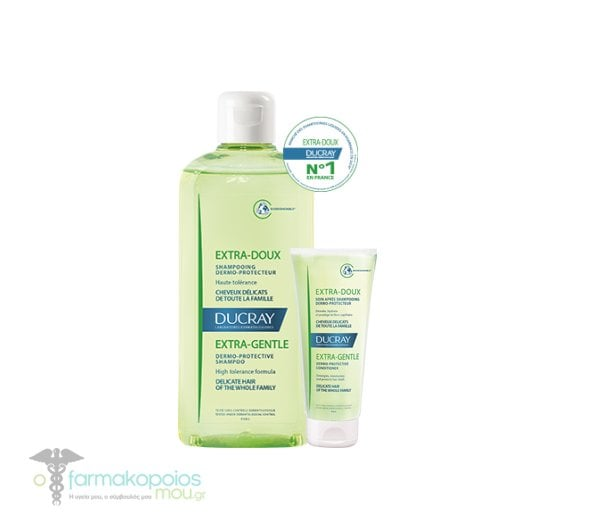 Ducray PROMO Extra-Doux Gentle Dermo Protective Shampoo Δερμοπροστατευτικό Σαμπουάν Καθημερινής Χρήσης για Όλη την Οικογένεια, 400ml & ΔΩΡΟ Μαλακτική Κρέμα, 50ml